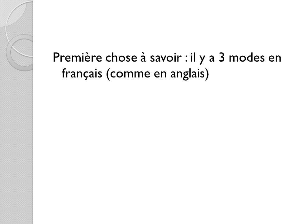 Première chose à savoir : il y a 3 modes en français (comme en anglais)