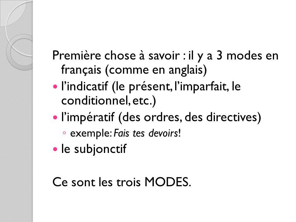 Première chose à savoir : il y a 3 modes en français (comme en anglais) l'indicatif (le présent, l'imparfait, le conditionnel, etc.) l'impératif (des ordres, des directives) ◦ exemple: Fais tes devoirs.