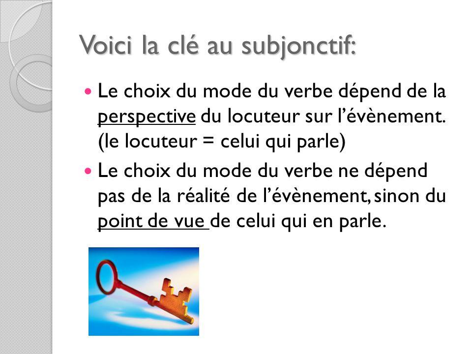 Voici la clé au subjonctif: Le choix du mode du verbe dépend de la perspective du locuteur sur l'évènement.