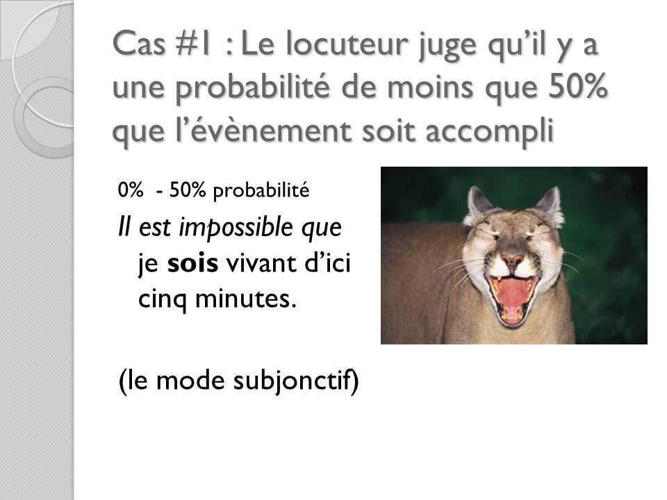 Cas #1 : Le locuteur juge qu'il y a une probabilité de moins que 50% que l'évènement soit accompli 0% - 50% probabilité Il est impossible que je sois vivant d'ici cinq minutes.