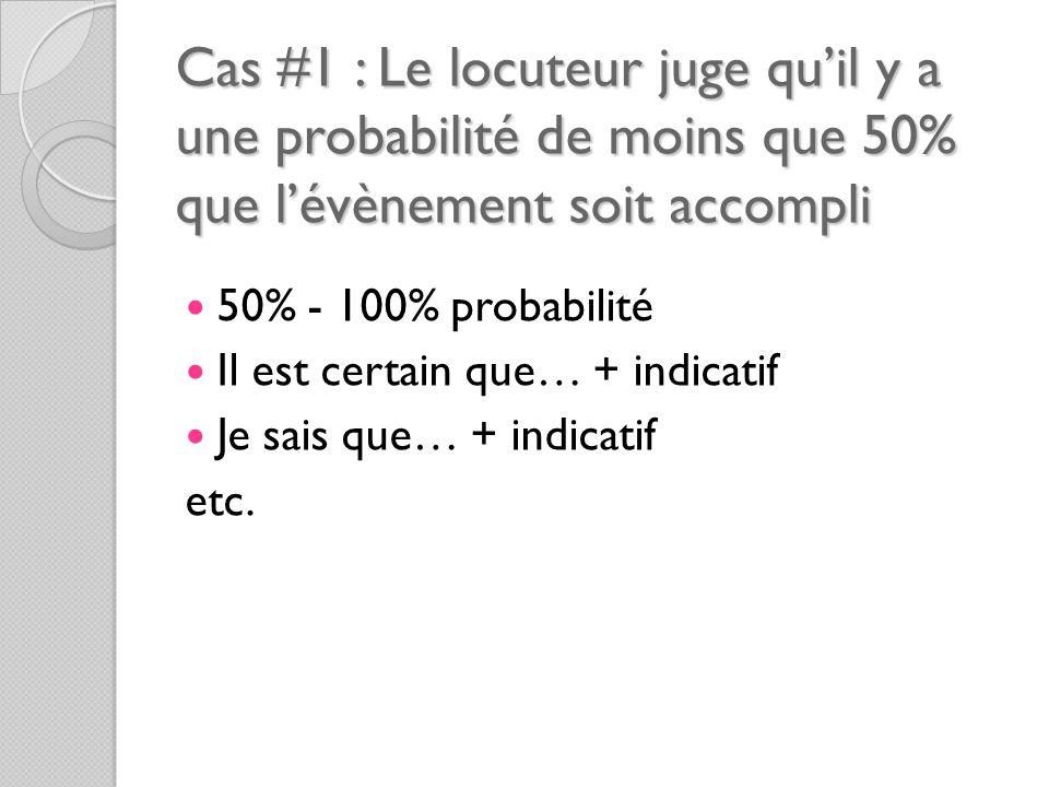 Cas #1 : Le locuteur juge qu'il y a une probabilité de moins que 50% que l'évènement soit accompli 50% - 100% probabilité Il est certain que… + indicatif Je sais que… + indicatif etc.
