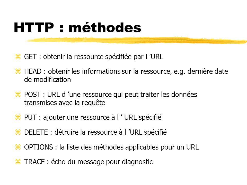 HTTP : méthodes zGET : obtenir la ressource spécifiée par l 'URL zHEAD : obtenir les informations sur la ressource, e.g.