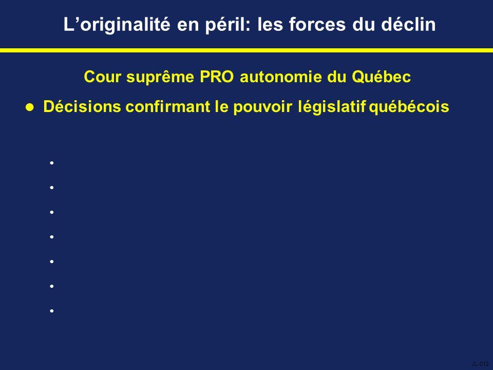 L'originalité en péril: les forces du déclin Cour suprême PRO autonomie du Québec Décisions confirmant le pouvoir législatif québécois        JL-012