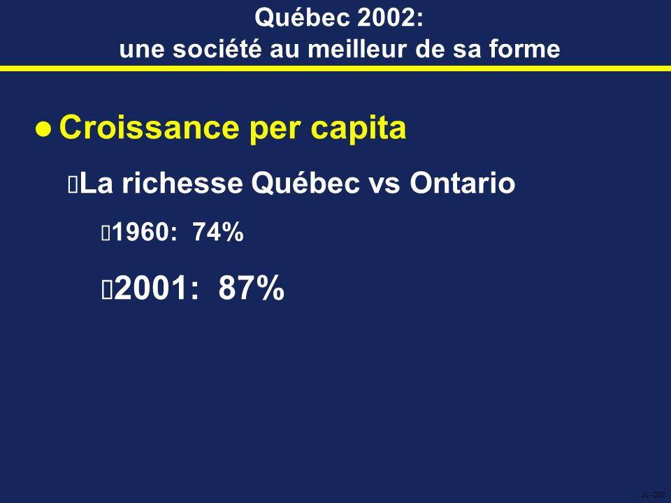 Québec 2002: une société au meilleur de sa forme Croissance per capita  La richesse Québec vs Ontario  1960: 74%  2001: 87% JL-002