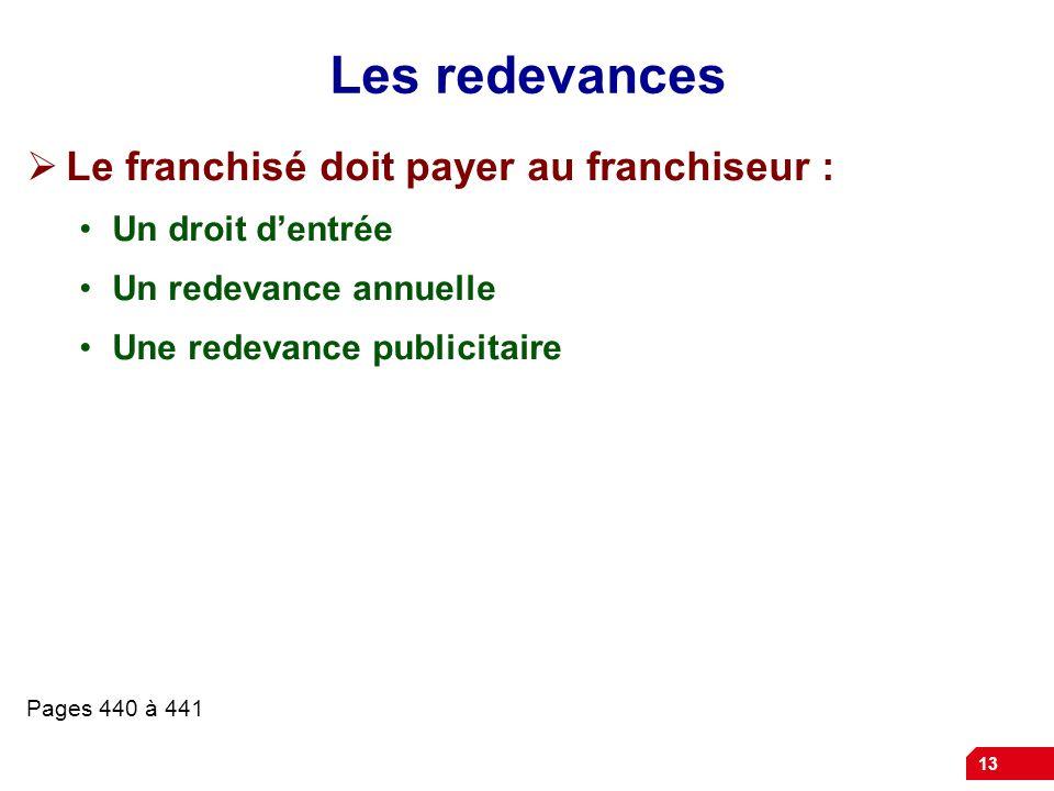 13 Les redevances  Le franchisé doit payer au franchiseur : Un droit d'entrée Un redevance annuelle Une redevance publicitaire Pages 440 à 441