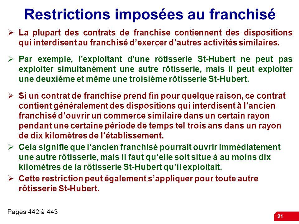 21 Restrictions imposées au franchisé  La plupart des contrats de franchise contiennent des dispositions qui interdisent au franchisé d'exercer d'autres activités similaires.