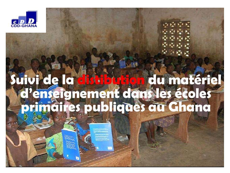 0 Suivi de la distibution du matériel d'enseignement dans les écoles primaires publiques au Ghana