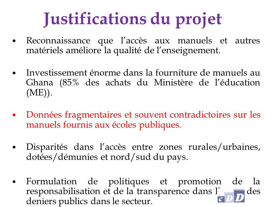 Justifications du projet Reconnaissance que l'accès aux manuels et autres matériels améliore la qualité de l'enseignement.