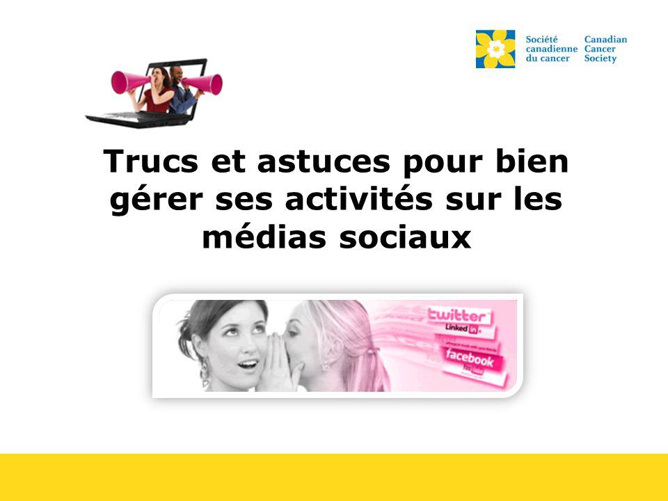Utilisation appropriée des médias sociaux Il faut utiliser les médias sociaux (Facebook, Twitter, YouTube, etc.) une utilisation appropriée.