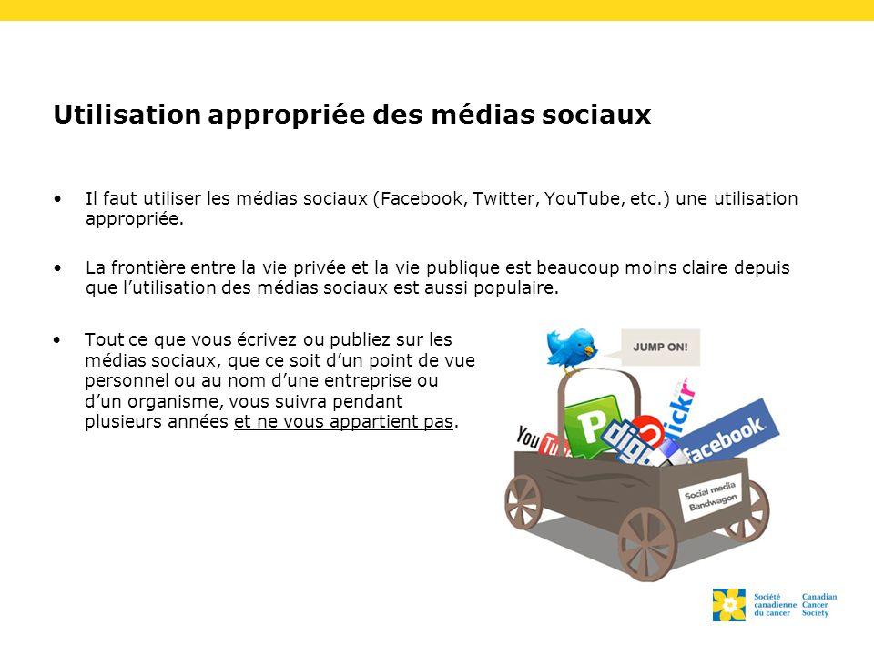 Utilisation appropriée des médias sociaux Il faut utiliser les médias sociaux (Facebook, Twitter, YouTube, etc.) une utilisation appropriée. La fronti