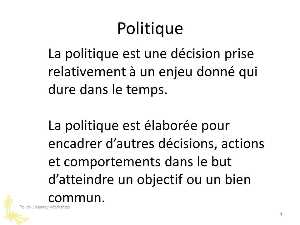 Policy Literacy Workshop 4 La politique est une décision prise relativement à un enjeu donné qui dure dans le temps. La politique est élaborée pour en