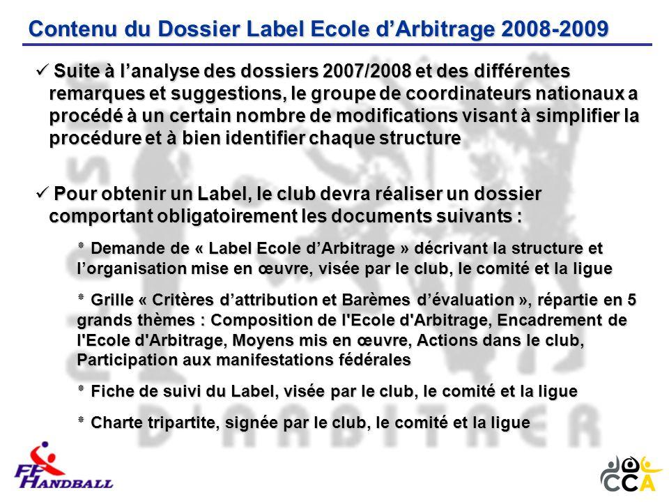 Contenu du Dossier Label Ecole d'Arbitrage 2008-2009 Pour obtenir un Label, le club devra réaliser un dossier comportant obligatoirement les documents