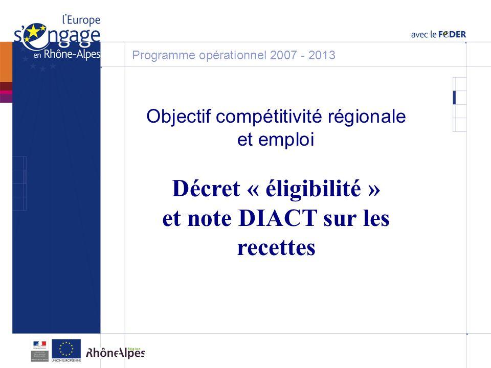 Objectif compétitivité régionale et emploi Décret « éligibilité » et note DIACT sur les recettes Programme opérationnel 2007 - 2013