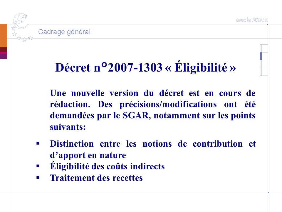 Cadrage général Décret n°2007-1303 « Éligibilité » Une nouvelle version du décret est en cours de rédaction.