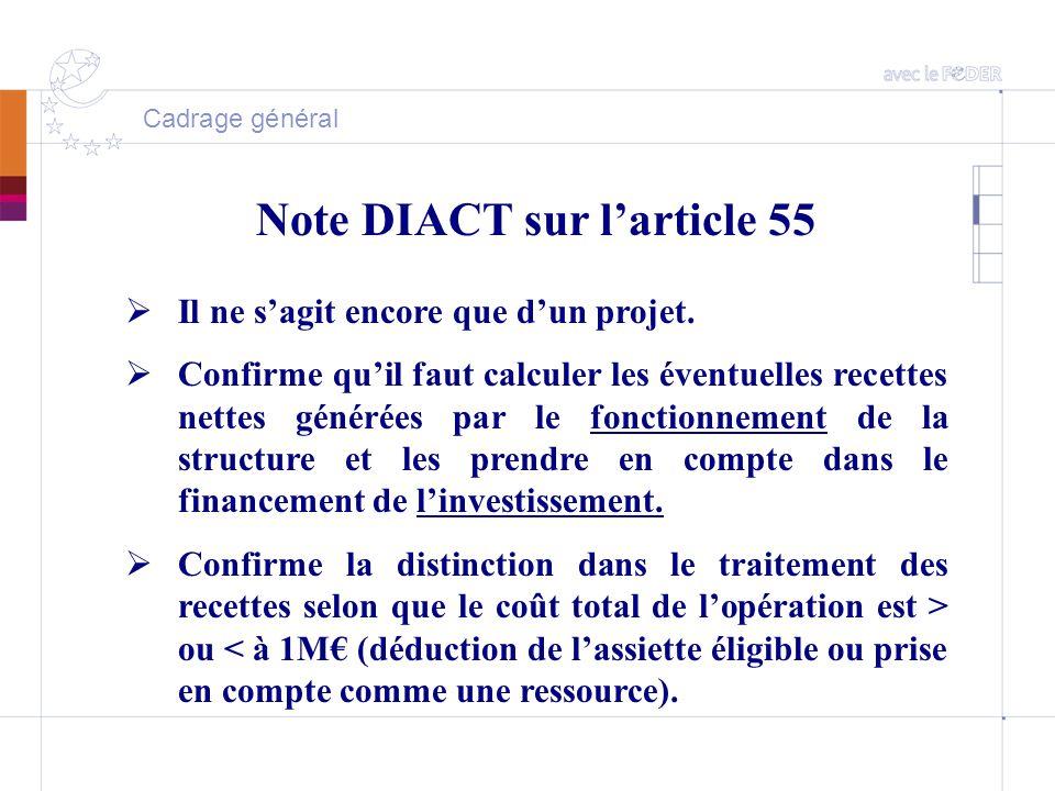 Cadrage général Note DIACT sur l'article 55  Il ne s'agit encore que d'un projet.