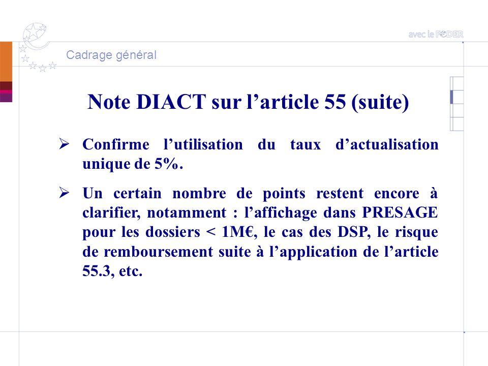 Cadrage général Note DIACT sur l'article 55 (suite)  Confirme l'utilisation du taux d'actualisation unique de 5%.