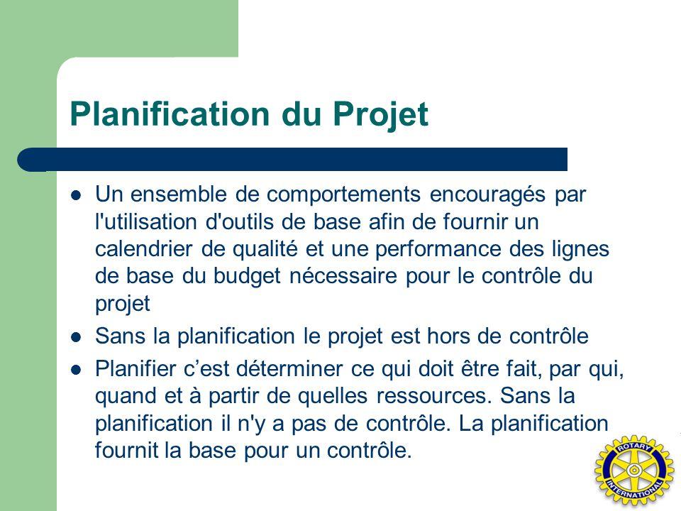 Planification du Projet Un ensemble de comportements encouragés par l'utilisation d'outils de base afin de fournir un calendrier de qualité et une per