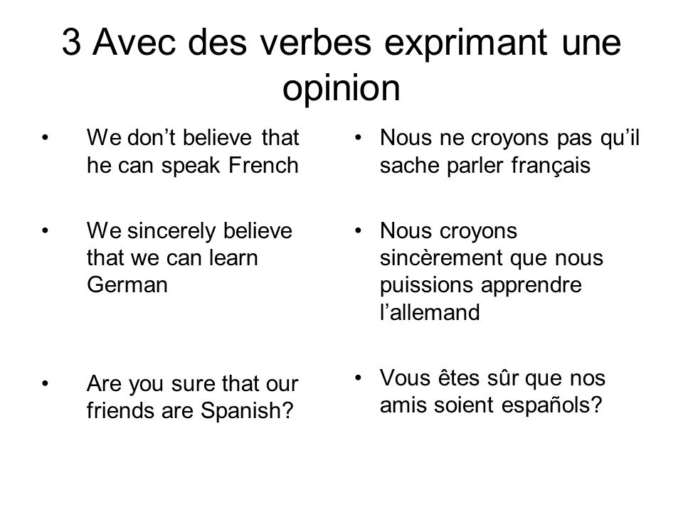 3 Avec des verbes exprimant une opinion We don't believe that he can speak French We sincerely believe that we can learn German Are you sure that our