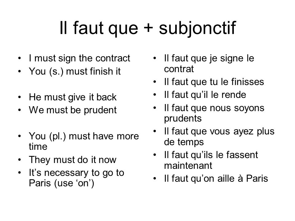 Il faut que + subjonctif I must sign the contract You (s.) must finish it He must give it back We must be prudent You (pl.) must have more time They must do it now It's necessary to go to Paris (use 'on') Il faut que je signe le contrat Il faut que tu le finisses Il faut qu'il le rende Il faut que nous soyons prudents Il faut que vous ayez plus de temps Il faut qu'ils le fassent maintenant Il faut qu'on aille à Paris