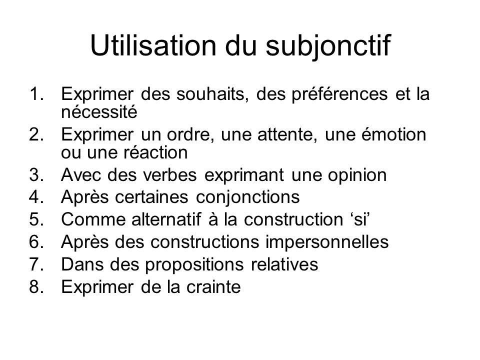 Utilisation du subjonctif 1.Exprimer des souhaits, des préférences et la nécessité 2.Exprimer un ordre, une attente, une émotion ou une réaction 3.Ave