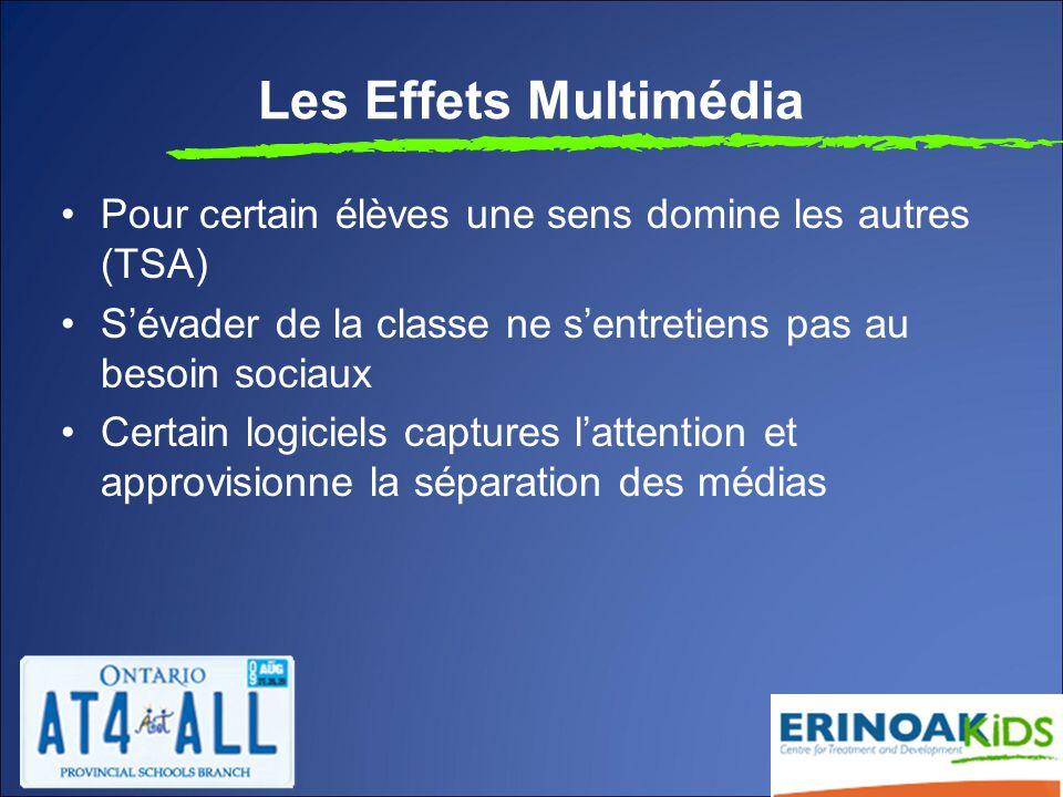Les Effets Multimédia Pour certain élèves une sens domine les autres (TSA) S'évader de la classe ne s'entretiens pas au besoin sociaux Certain logiciels captures l'attention et approvisionne la séparation des médias