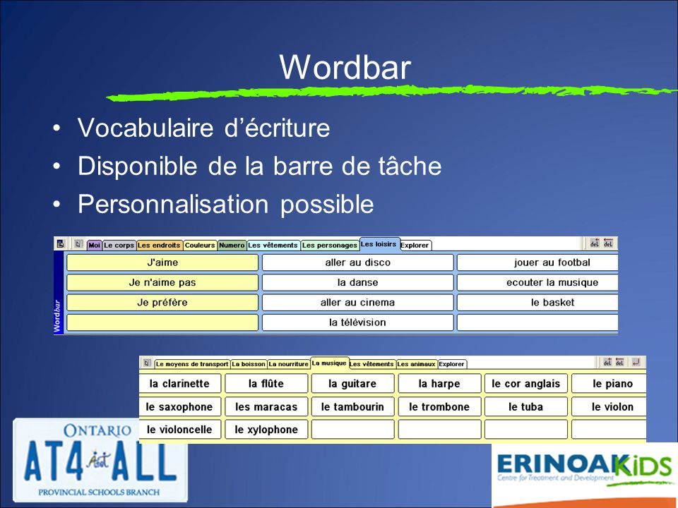 Wordbar Vocabulaire d'écriture Disponible de la barre de tâche Personnalisation possible
