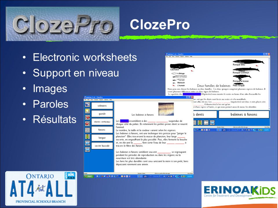 ClozePro Electronic worksheets Support en niveau Images Paroles Résultats