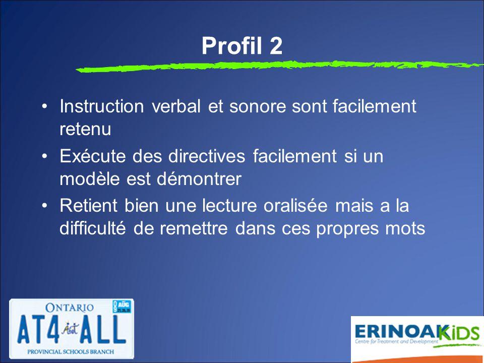 Profil 2 Instruction verbal et sonore sont facilement retenu Exécute des directives facilement si un modèle est démontrer Retient bien une lecture oralisée mais a la difficulté de remettre dans ces propres mots