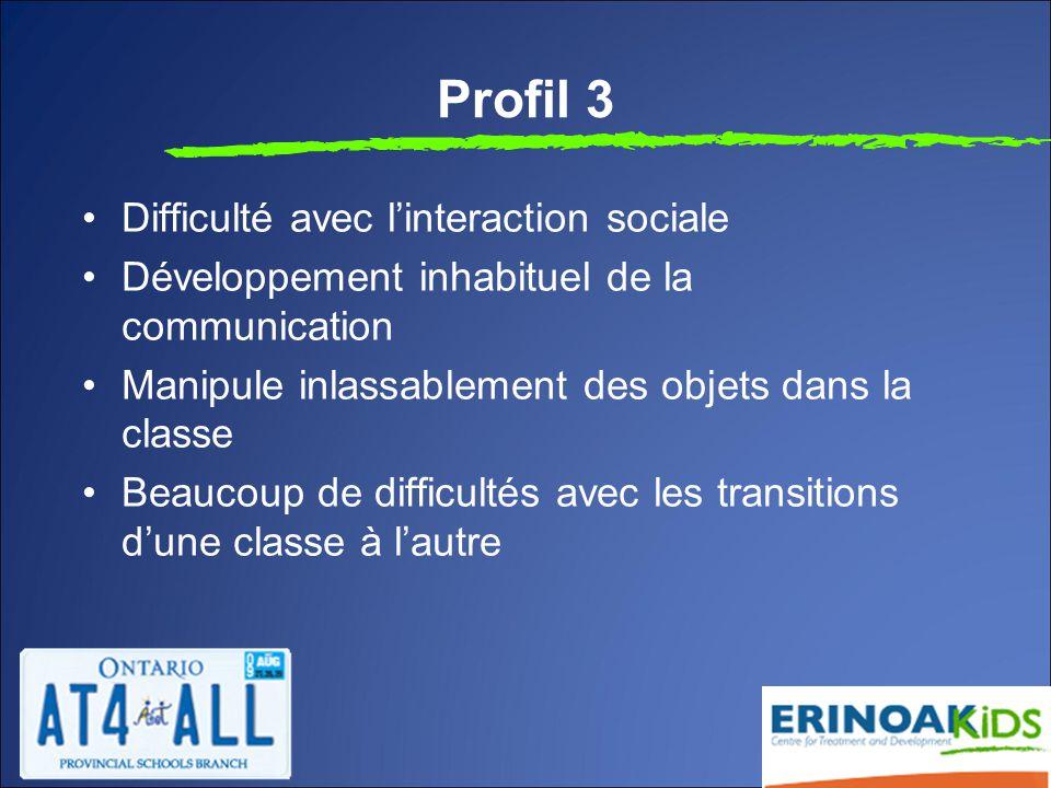 Profil 3 Difficulté avec l'interaction sociale Développement inhabituel de la communication Manipule inlassablement des objets dans la classe Beaucoup de difficultés avec les transitions d'une classe à l'autre