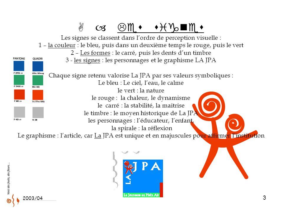 3 A – Les signes Les signes se classent dans l'ordre de perception visuelle : 1 – la couleur : le bleu, puis dans un deuxième temps le rouge, puis le vert 2 – Les formes : le carré, puis les dents d'un timbre 3 - les signes : les personnages et le graphisme LA JPA Chaque signe retenu valorise La JPA par ses valeurs symboliques : Le bleu : Le ciel, l'eau, le calme le vert : la nature le rouge : la chaleur, le dynamisme le carré : la stabilité, la maîtrise le timbre : le moyen historique de La JPA les personnages : l'éducateur, l'enfant, la spirale : la réflexion Le graphisme : l'article, car La JPA est unique et en majuscules pour affirmer l'institution 2003/04