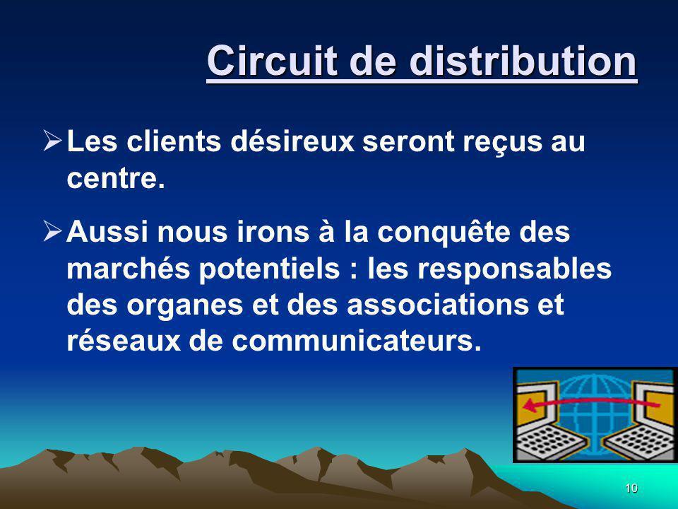 10 Circuit de distribution  Les clients désireux seront reçus au centre.  Aussi nous irons à la conquête des marchés potentiels : les responsables d