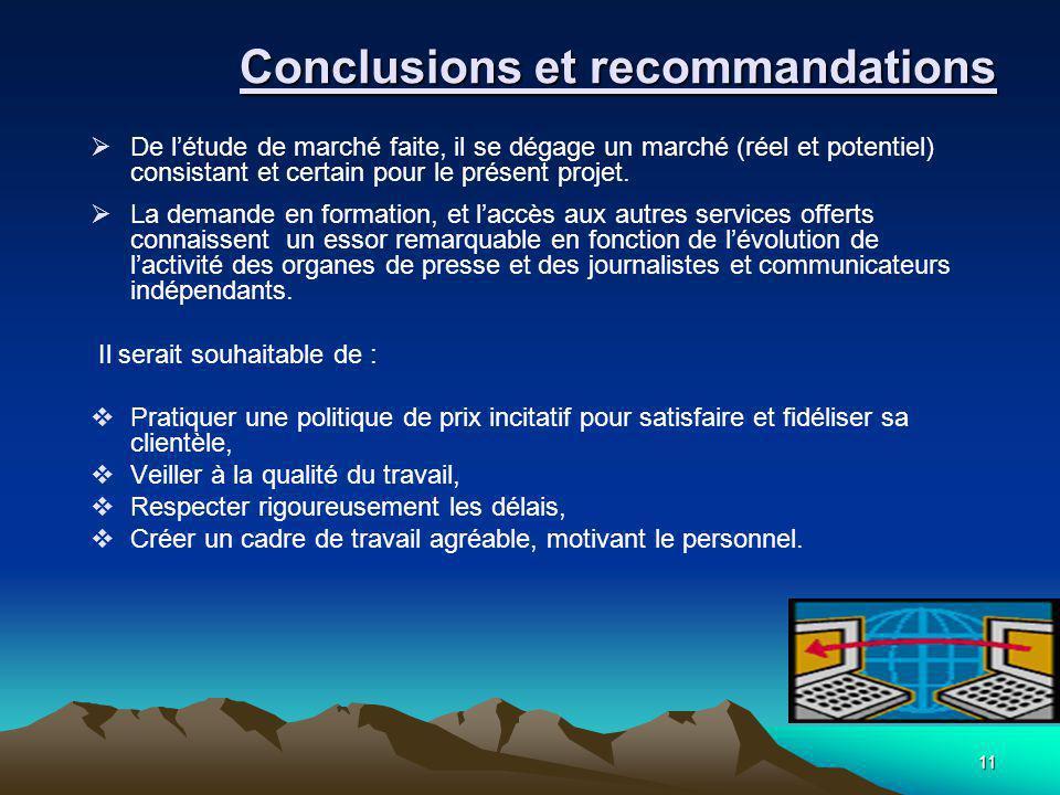 11 Conclusions et recommandations  De l'étude de marché faite, il se dégage un marché (réel et potentiel) consistant et certain pour le présent projet.