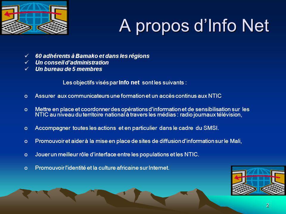 2 A propos d'Info Net 60 adhérents à Bamako et dans les régions Un conseil d'administration Un bureau de 5 membres Les objectifs visés par Info net so