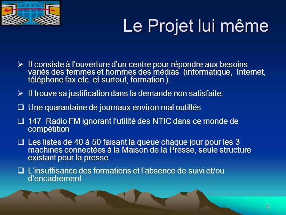 3 Le Projet lui même  Il consiste à l'ouverture d'un centre pour répondre aux besoins variés des femmes et hommes des médias (informatique, Internet, téléphone fax etc.