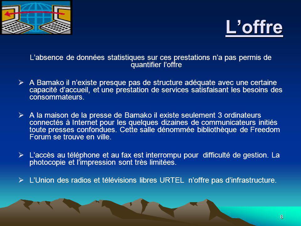 8 L'offre L'offre L'absence de données statistiques sur ces prestations n'a pas permis de quantifier l'offre  A Bamako il n'existe presque pas de str