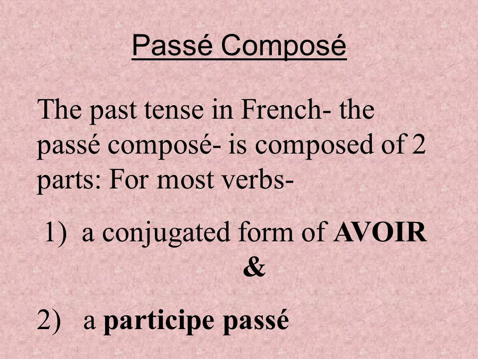Passé Composé Have your figured out how to form the past tense in French