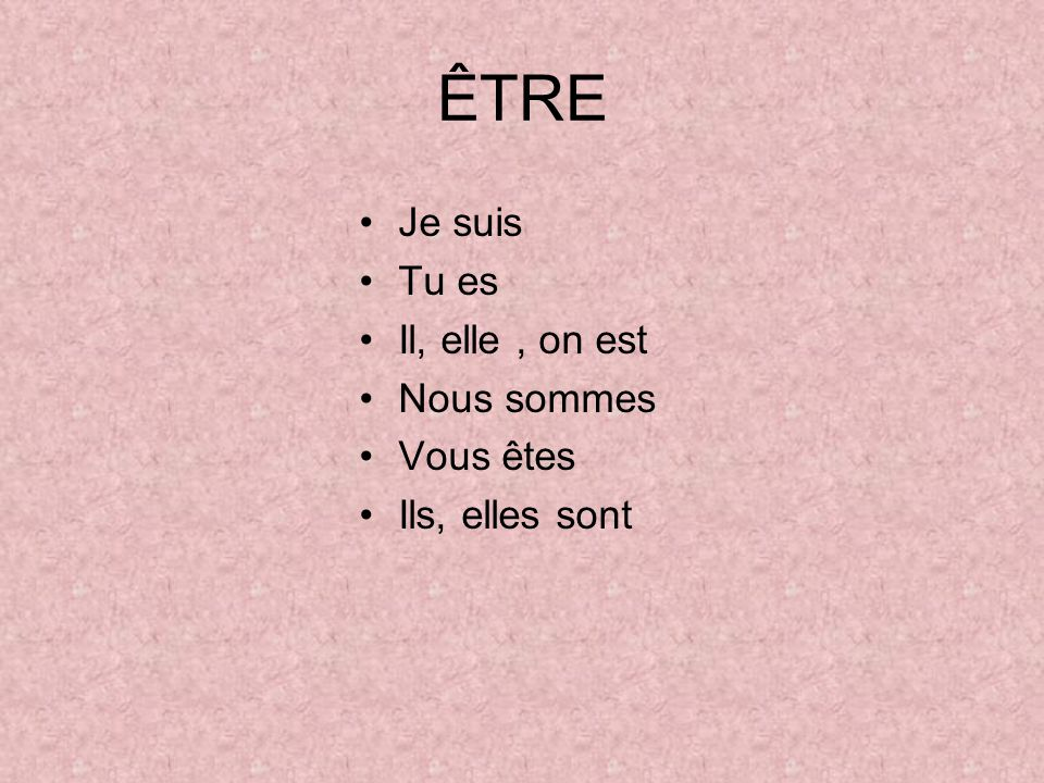 Do you remember how to ÊTRE? Je Tu Il, elle, on Nous Vous Ils, elles