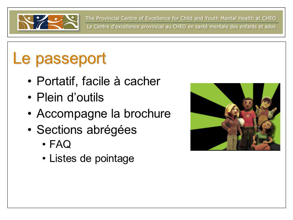 Le passeport Portatif, facile à cacher Plein d'outils Accompagne la brochure Sections abrégées FAQ Listes de pointage
