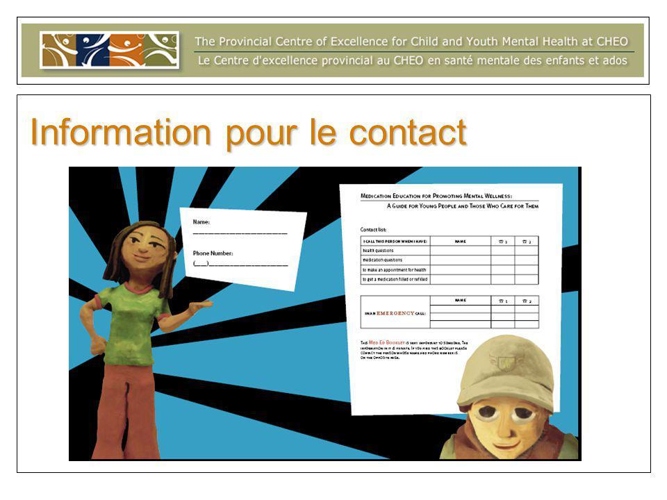 Information pour le contact