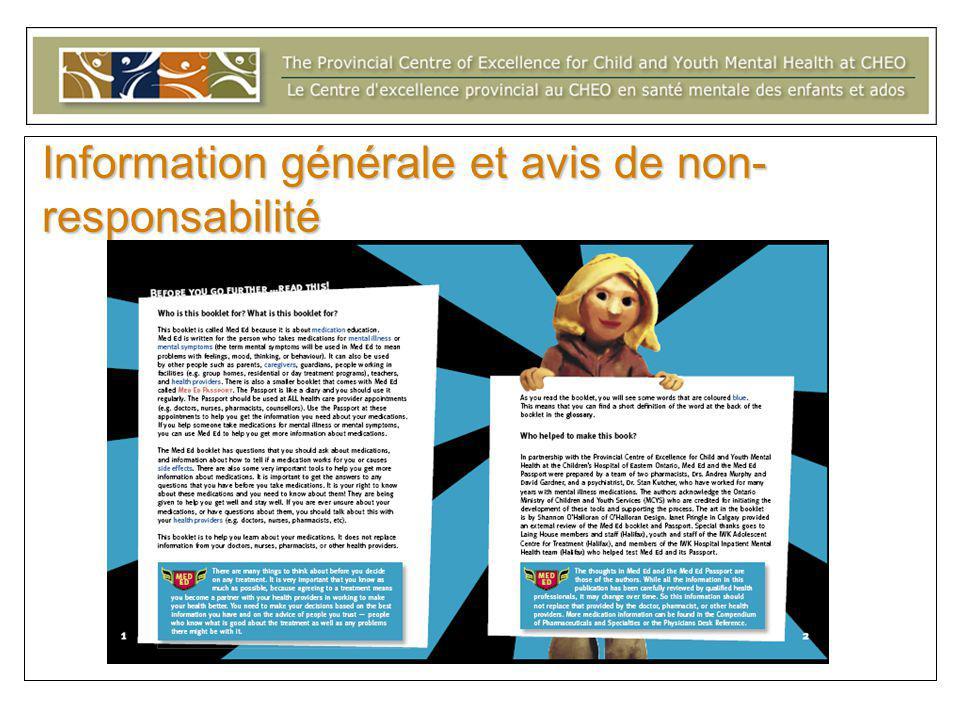 Information générale et avis de non responsabilité