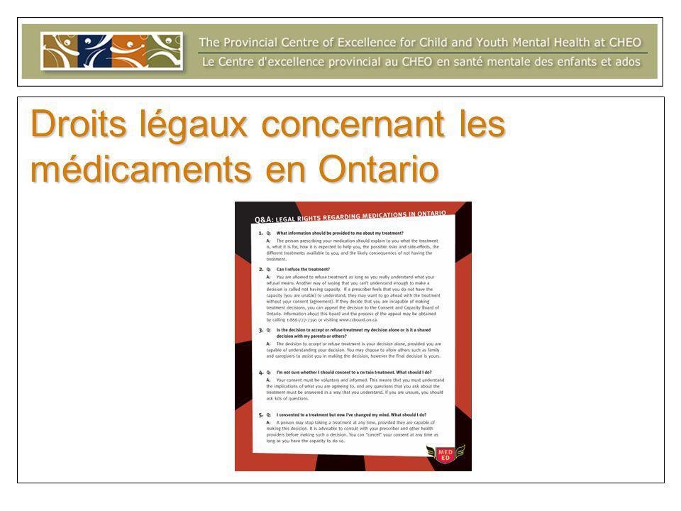 Droits légaux concernant les médicaments en Ontario