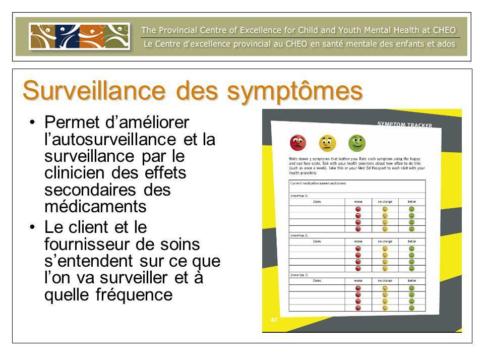 Surveillance des symptômes Permet d'améliorer l'autosurveillance et la surveillance par le clinicien des effets secondaires des médicaments Le client et le fournisseur de soins s'entendent sur ce que l'on va surveiller et à quelle fréquence