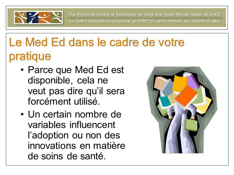 Le Med Ed dans le cadre de votre pratique Parce que Med Ed est disponible, cela ne veut pas dire qu'il sera forcément utilisé.
