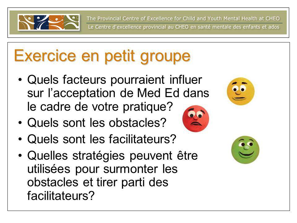 Exercice en petit groupe Quels facteurs pourraient influer sur l'acceptation de Med Ed dans le cadre de votre pratique.