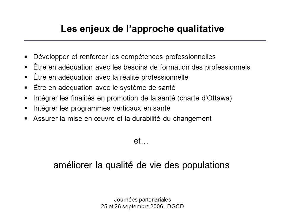 Journées partenariales 25 et 26 septembre 2006, DGCD Les enjeux de l'approche qualitative  Développer et renforcer les compétences professionnelles 