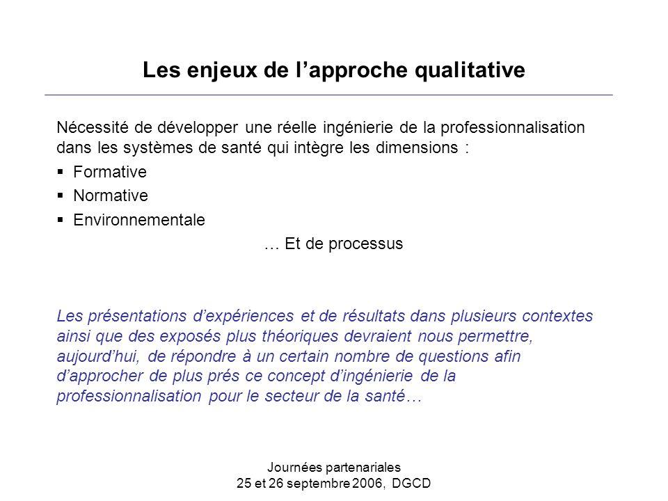 Journées partenariales 25 et 26 septembre 2006, DGCD Les enjeux de l'approche qualitative Nécessité de développer une réelle ingénierie de la professi