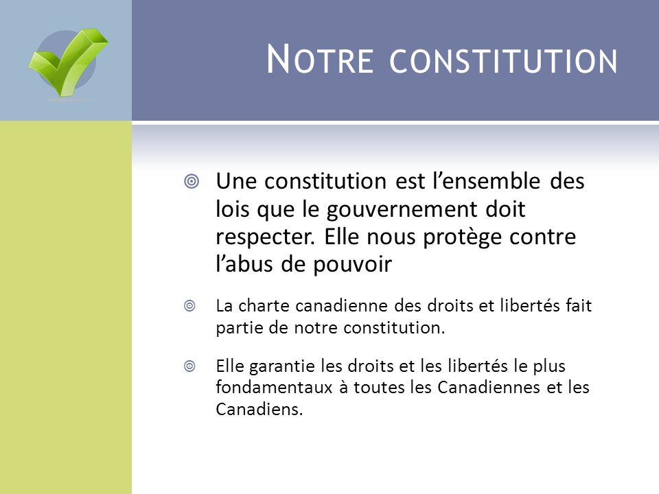 N OTRE CONSTITUTION  Une constitution est l'ensemble des lois que le gouvernement doit respecter. Elle nous protège contre l'abus de pouvoir  La cha