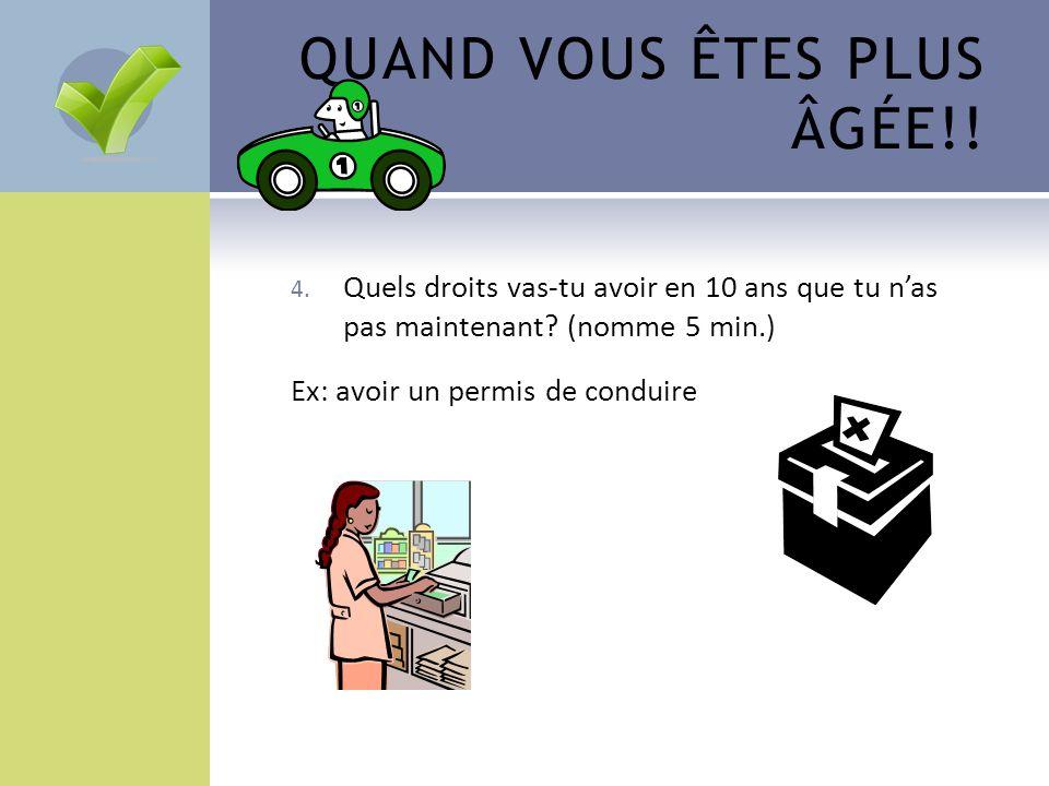 QUAND VOUS ÊTES PLUS ÂGÉE!! 4. Quels droits vas-tu avoir en 10 ans que tu n'as pas maintenant? (nomme 5 min.) Ex: avoir un permis de conduire