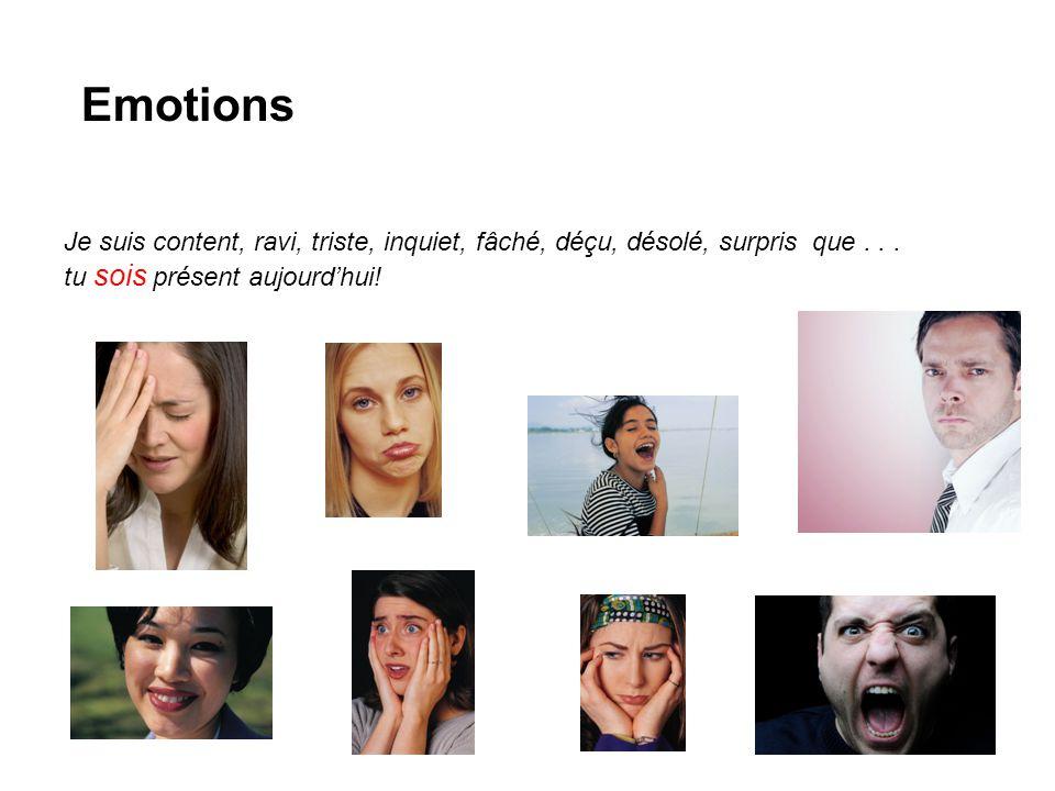 Emotions Je suis content, ravi, triste, inquiet, fâché, déçu, désolé, surpris que...