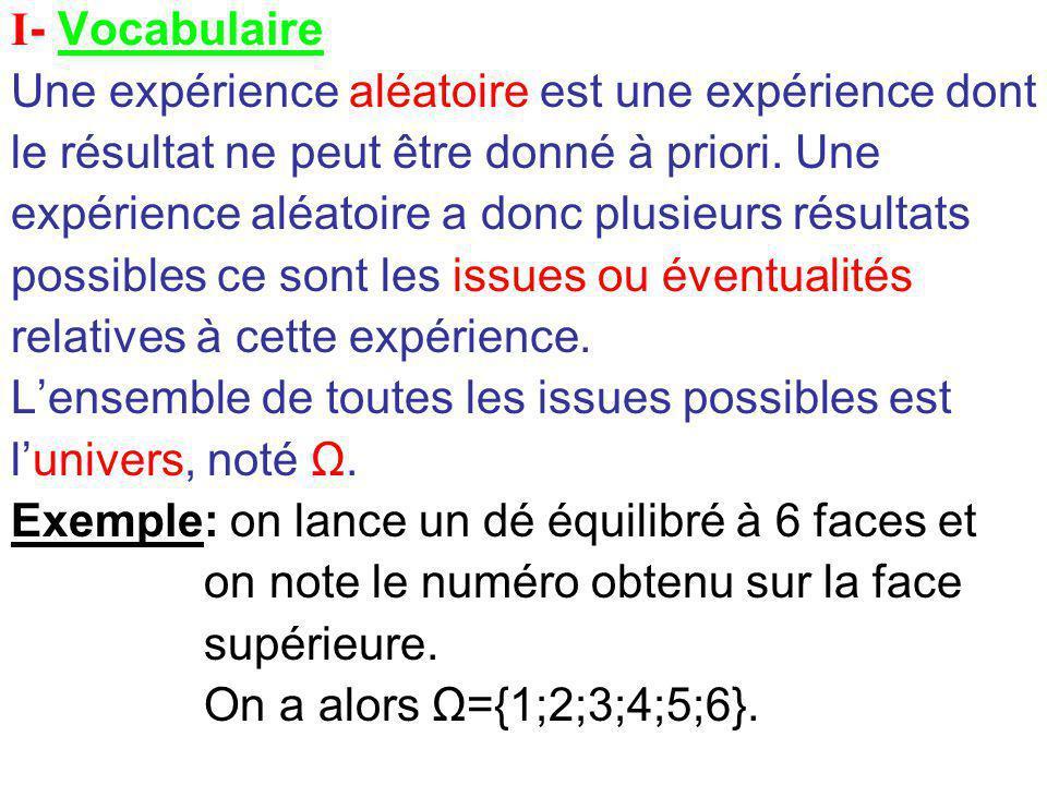I- Vocabulaire Une expérience aléatoire est une expérience dont le résultat ne peut être donné à priori.